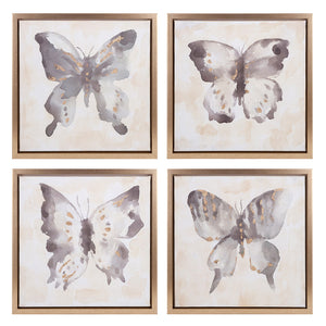 Butterfly Framed Oil Paintings Set of 4