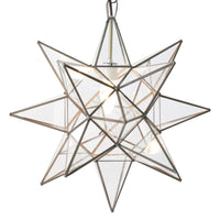 Worlds Away Star Clear Chandelier Antique Brass