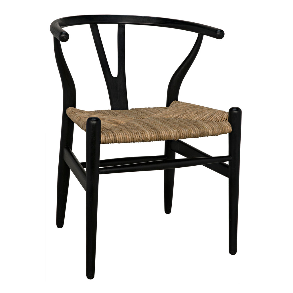 Noir Zola Rush Seat Dining Chair