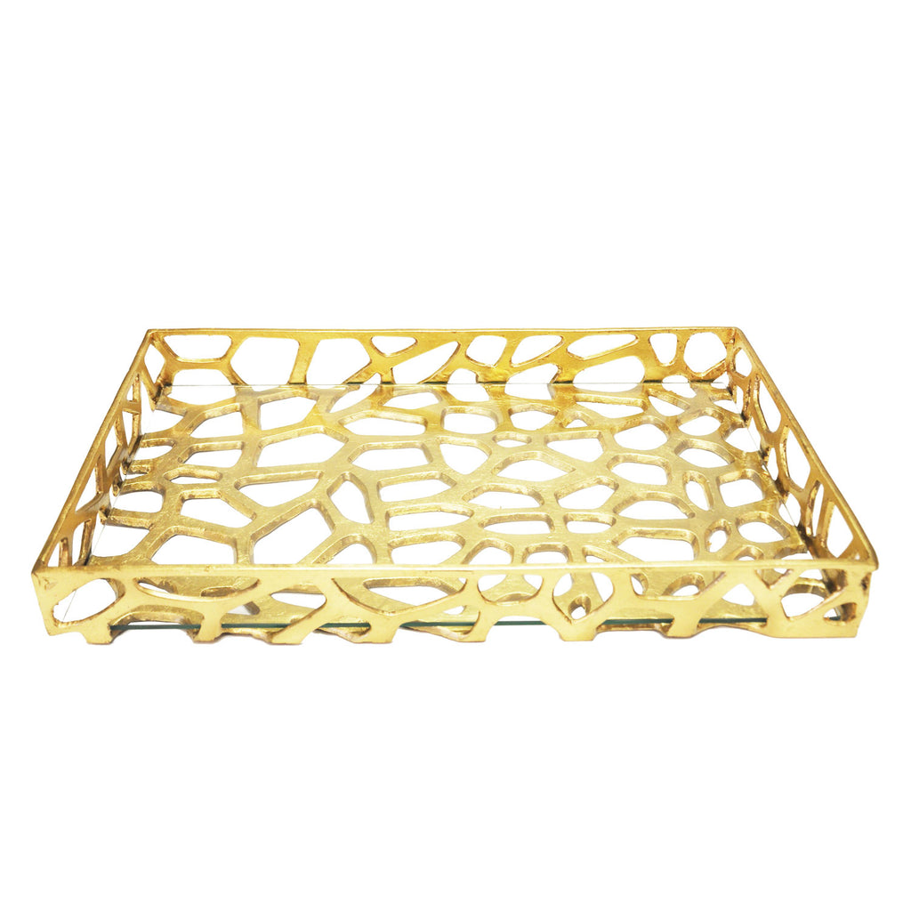 Worlds Away Byron Tray Gold Leaf