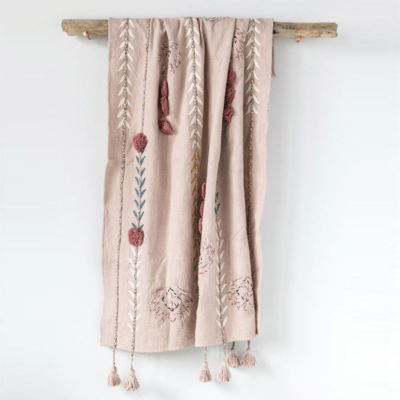 Floret Tassel Throw Blanket