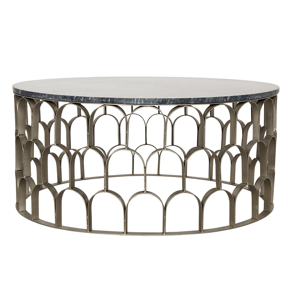 Noir Mina Antique Silver Coffee Table