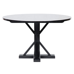 Noir Criss-Cross Round Dining Table