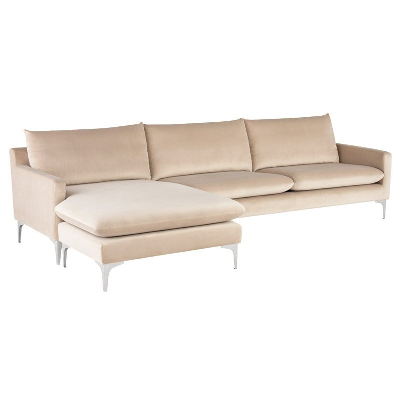 Anders Velour Sectional Sofa