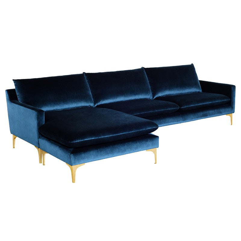 Anders Velour Sectional Sofa with Chaise