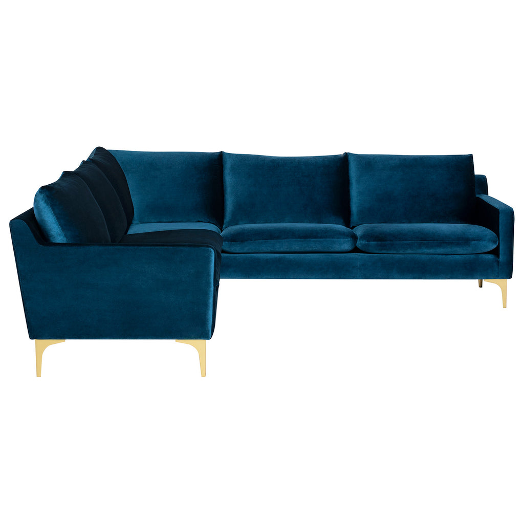 Anders Velour L Sectional Sofa
