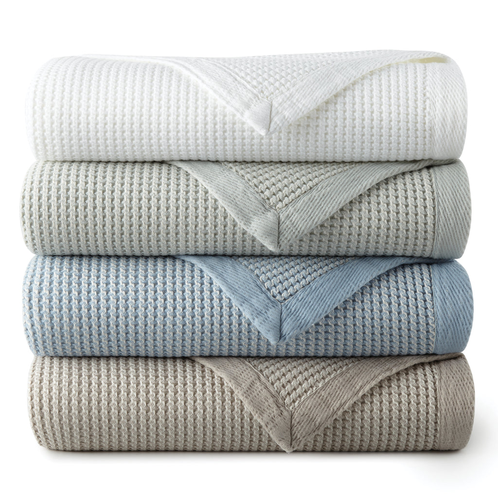 Peacock Alley Hudson Waffle Weave Bed Blanket
