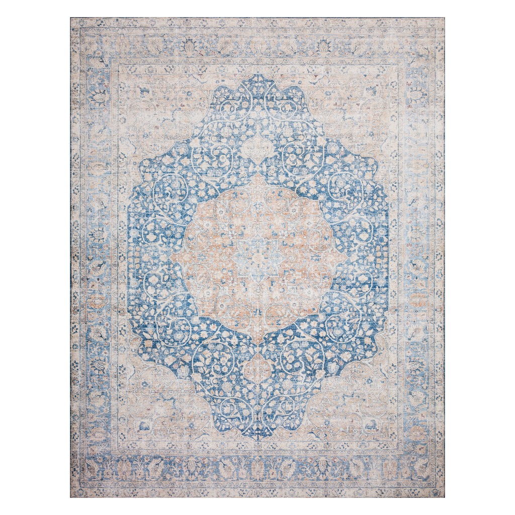 Loloi II Layla Blue/Tangerine Power Loomed Rug