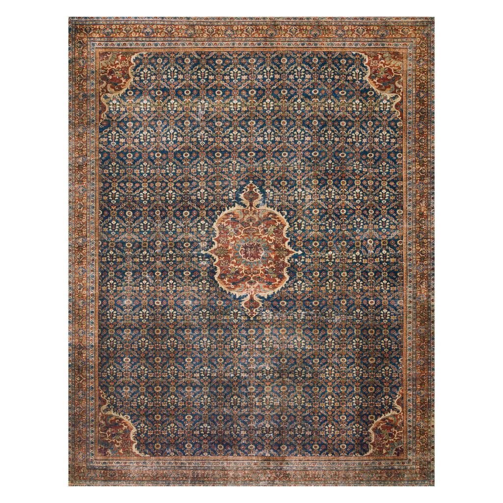 Loloi II Layla Cobalt Blue/Spice Power Loomed Rug