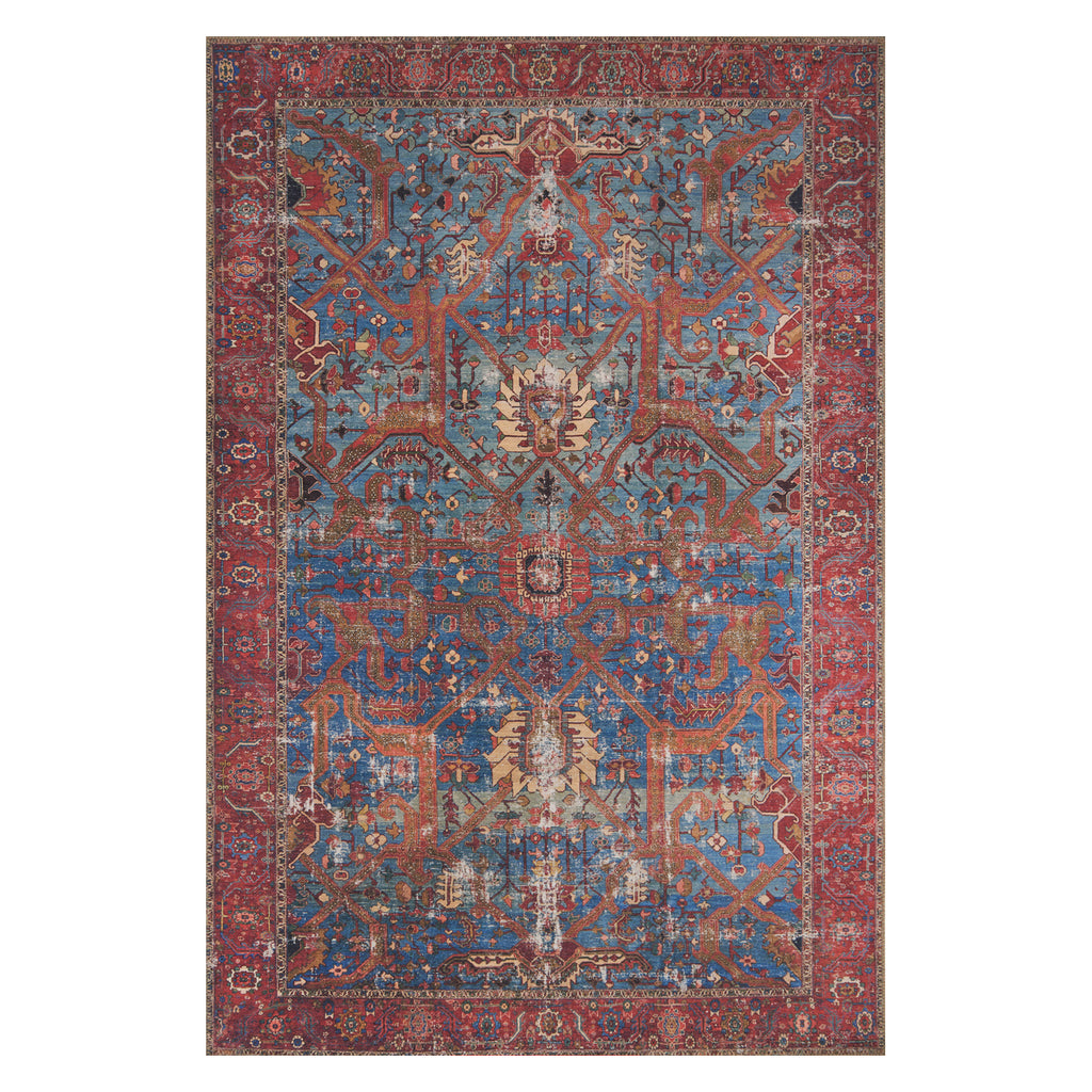 Loloi Loren Blue/Red Power Loomed Rug