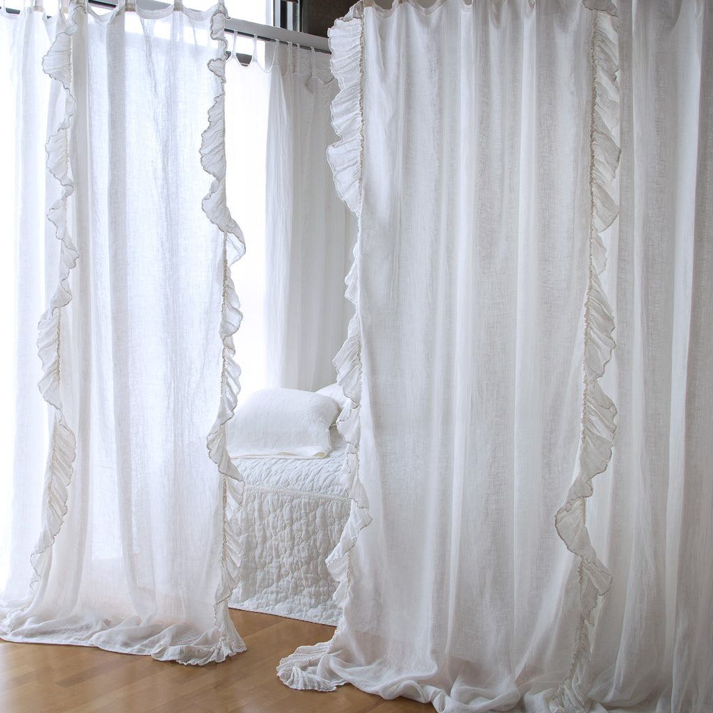 Bella Notte Linen Whisper Ruffled Curtain Panel