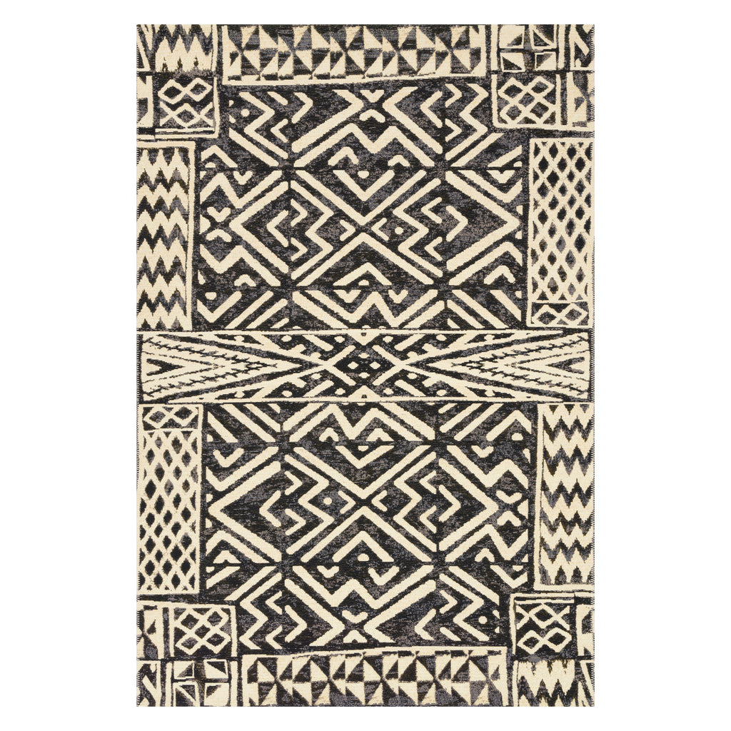 Loloi Mika Ivory/Black Power Loomed Rug