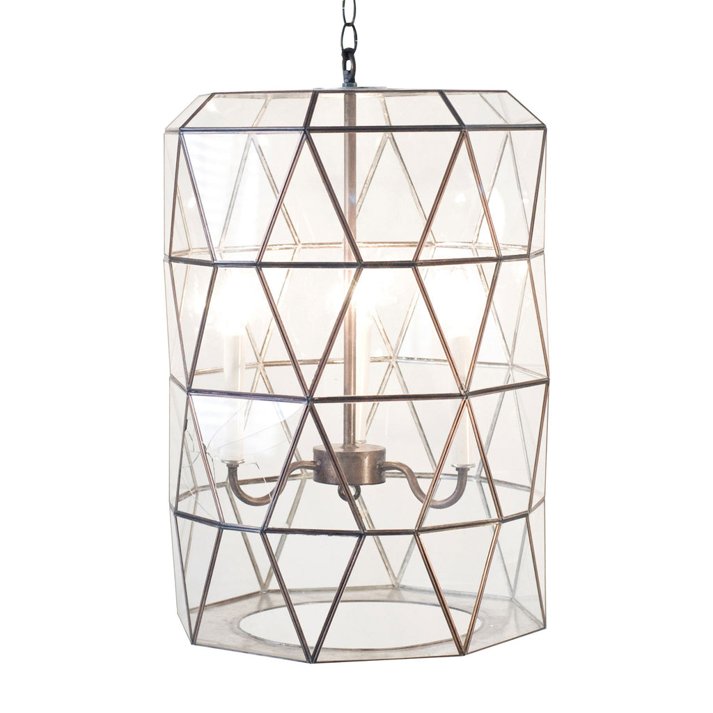 Worlds Away Moderna Lantern Clear Glass