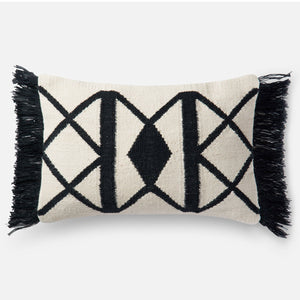 Loloi Fringe Black Rectangle Indoor/Outdoor Pillow Set of 2