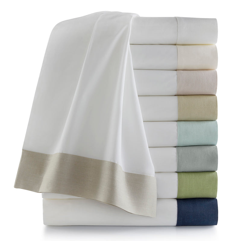 Peacock Alley Mandalay Linen Cuff Percale Flat Sheet