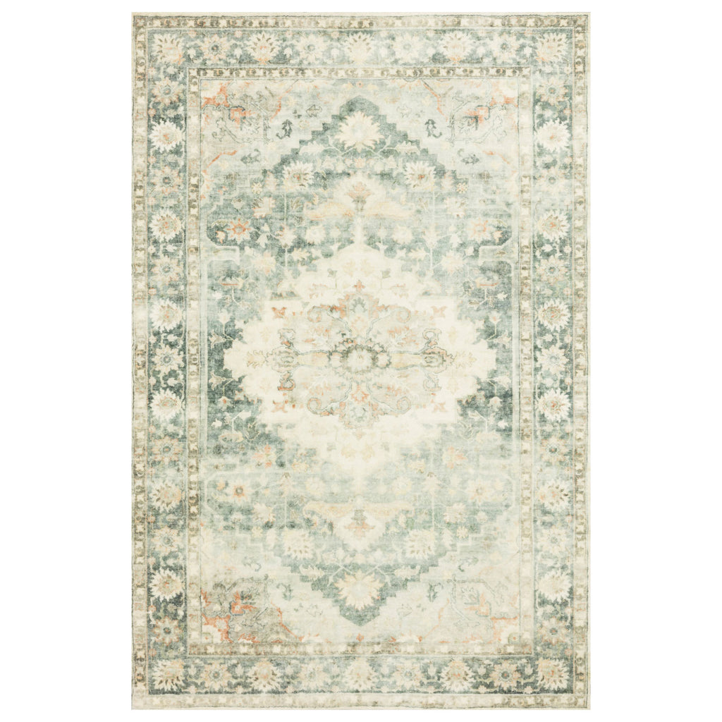 Loloi II Rosette Teal/Ivory Power Loomed Rug