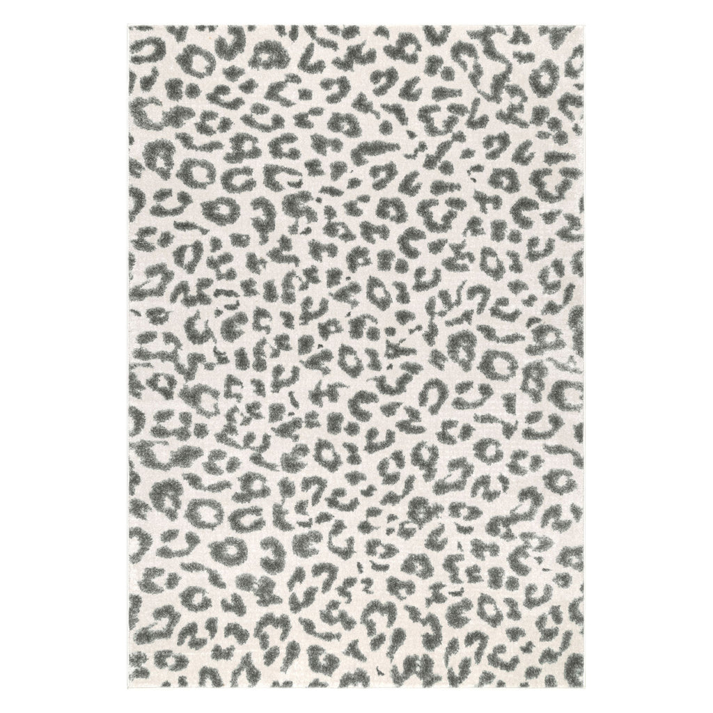Leopard Gray Machine Made Rug