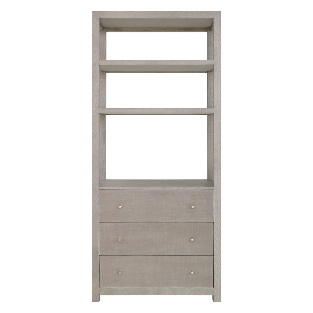 Worlds Away Silas Etagere Gray Grasscloth
