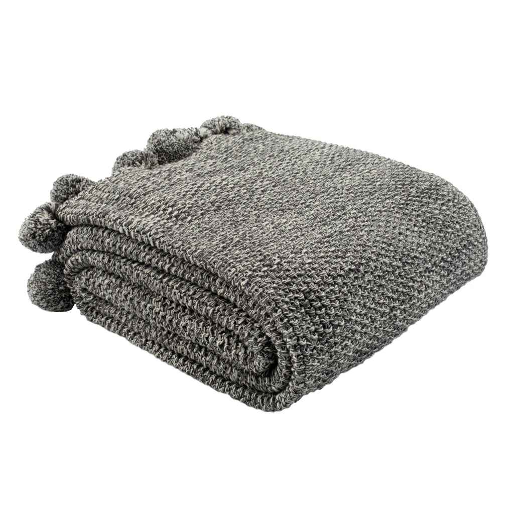 Pom Pom Gray Throw Blanket