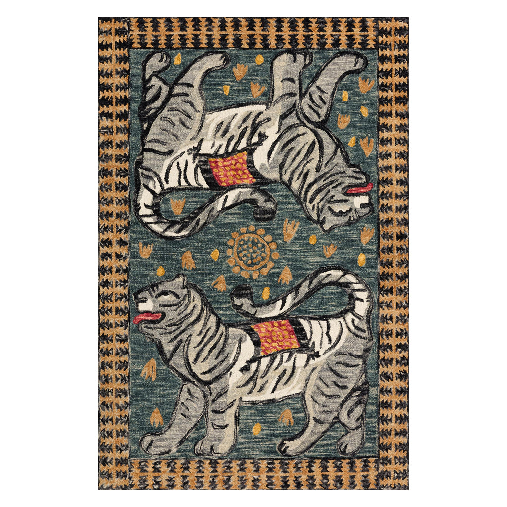Justina Blakeney × Loloi Tigress Teal/Gray Hooked Rug