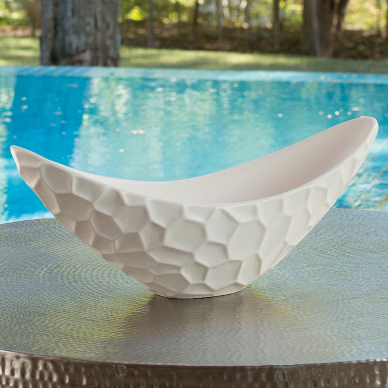 Studio A Honeycomb Matte White Long Bowl