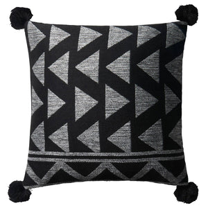 Loloi Pom Pom Black Indoor/Outdoor Pillow Set of 2