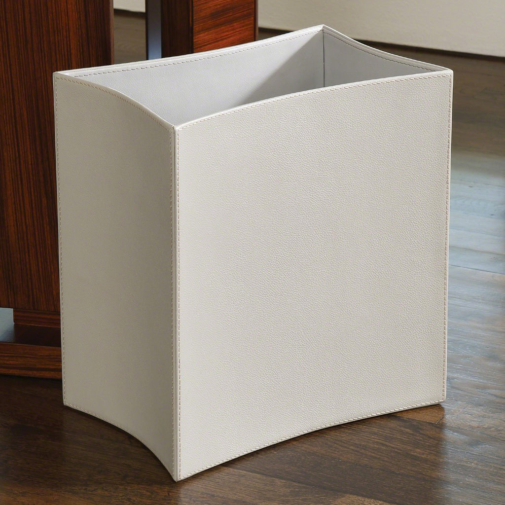 Global Views Folded Leather Wastebasket