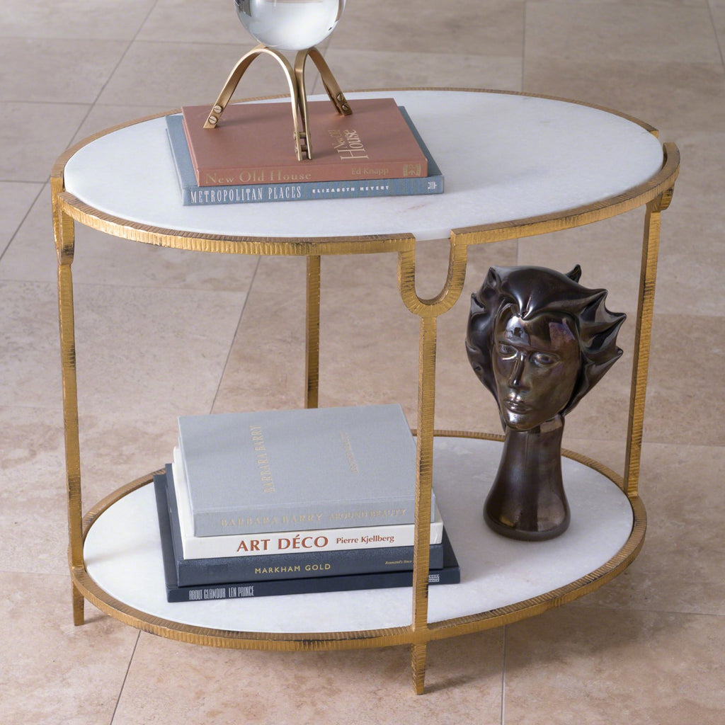 Global Views Oval Iron & Stone Side Table