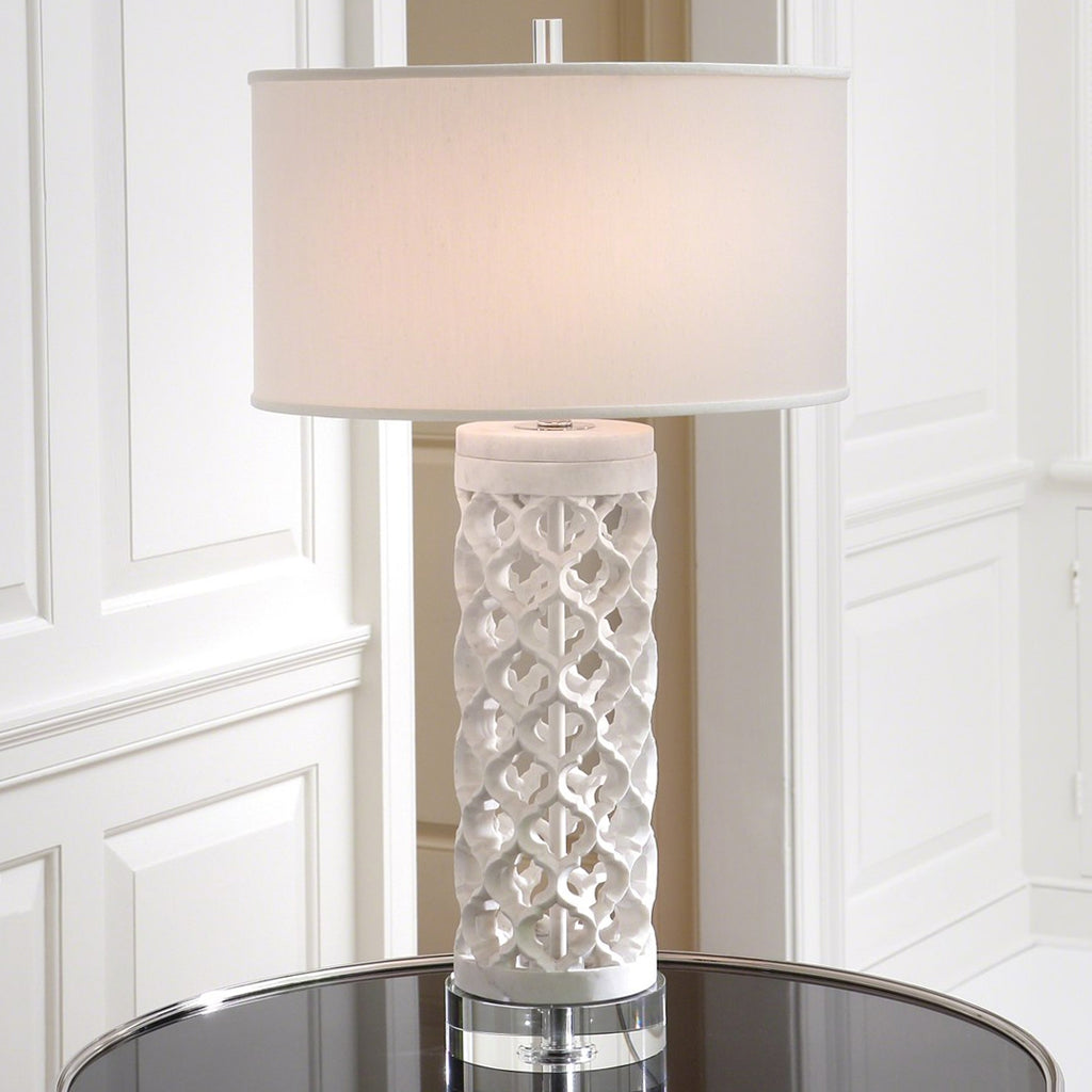 Global Views Round Arabesque Marble Table Lamp