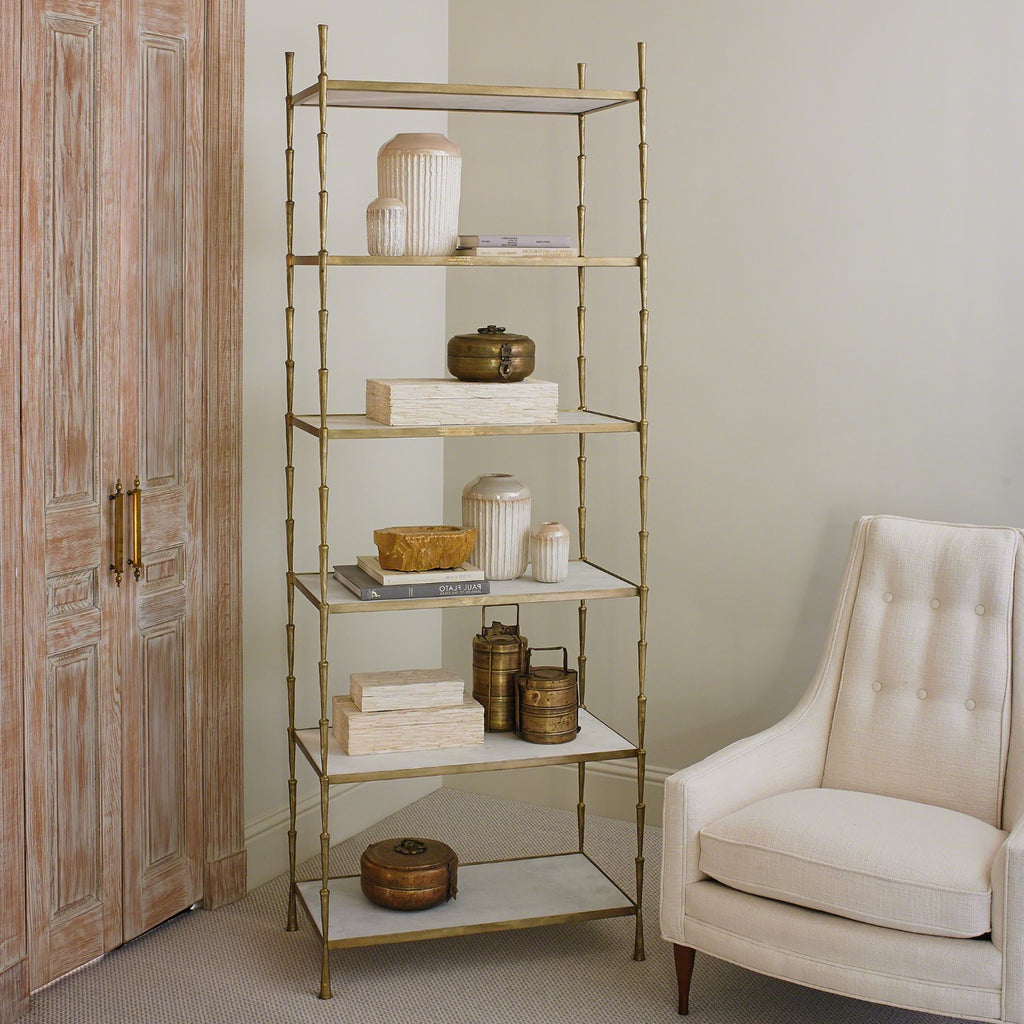 Studio A Spike White Marble Etagere