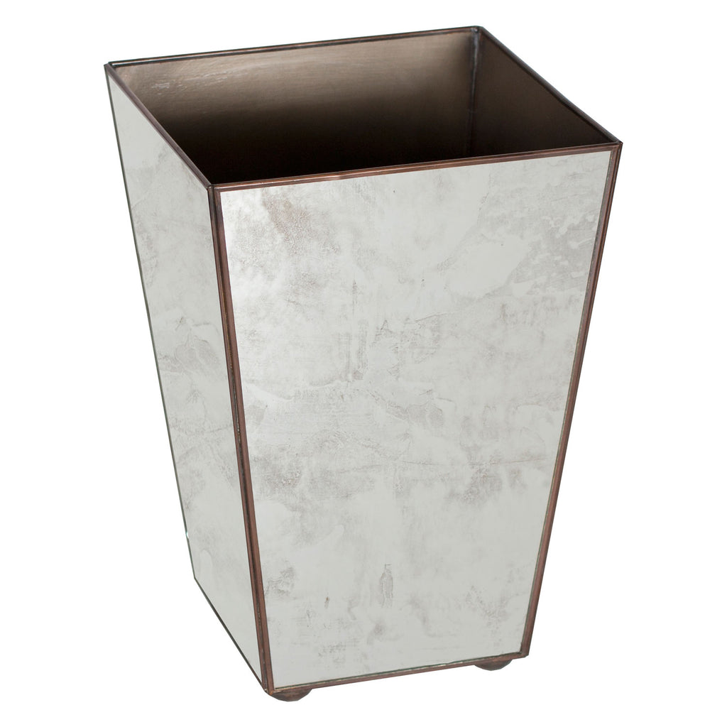 Worlds Away Square Antique Mirror Wastebasket