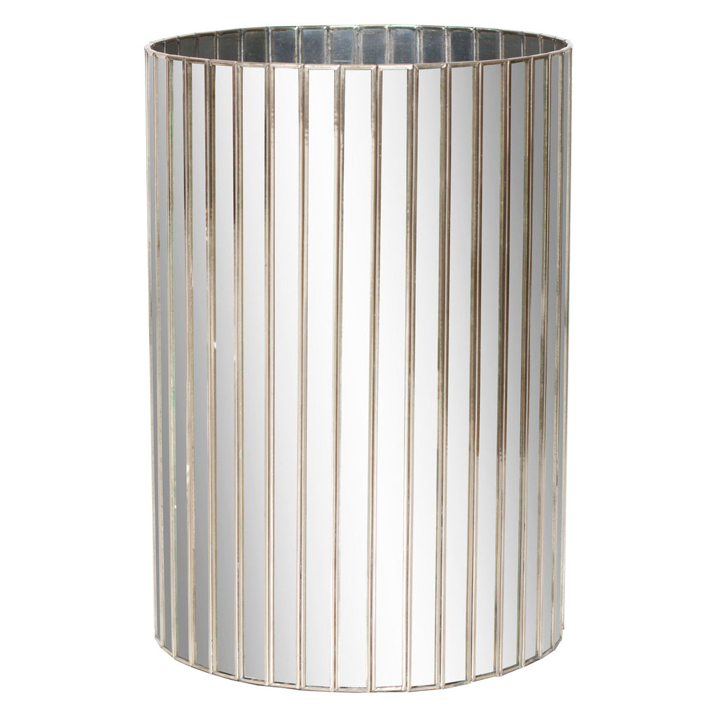 Worlds Away Faceted Round Wastebasket