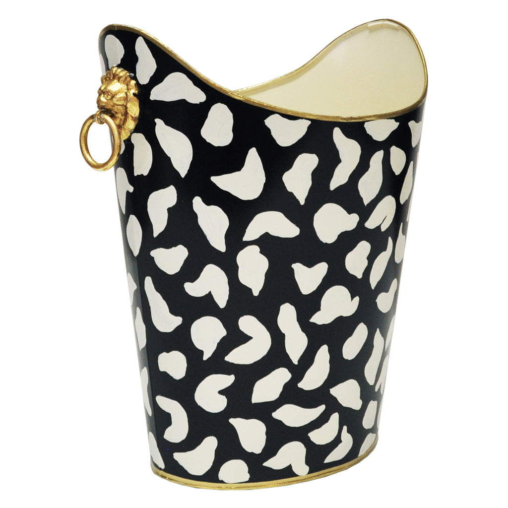 Worlds Away Oval Leopard Wastebasket