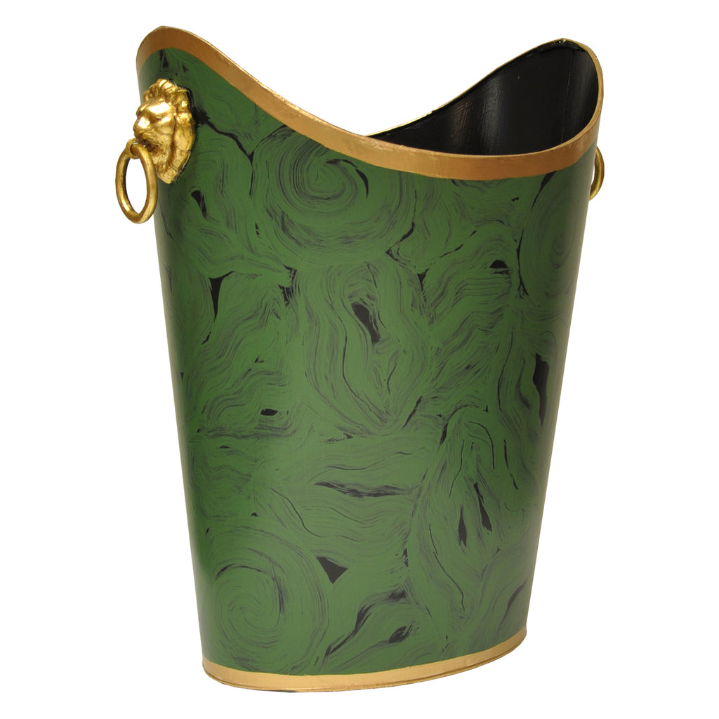 Worlds Away Oval Malachite Wastebasket