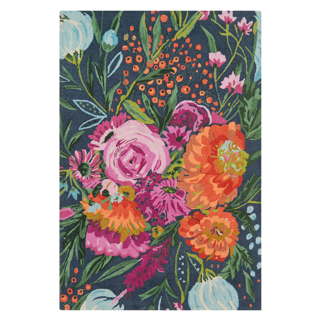 Loloi Wild Bloom Midnight/Plum Hooked Rug