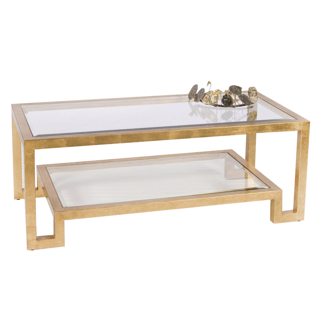 Worlds Away Winston Gold Leaf Coffee Table