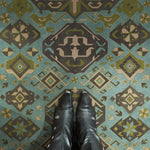 Traditional - Stone Blue Vinyl Floorcloth