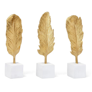 Gold Feather Decorative Object Set of 3