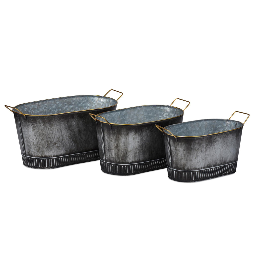 Vinton Galvanized Planter Set of 3