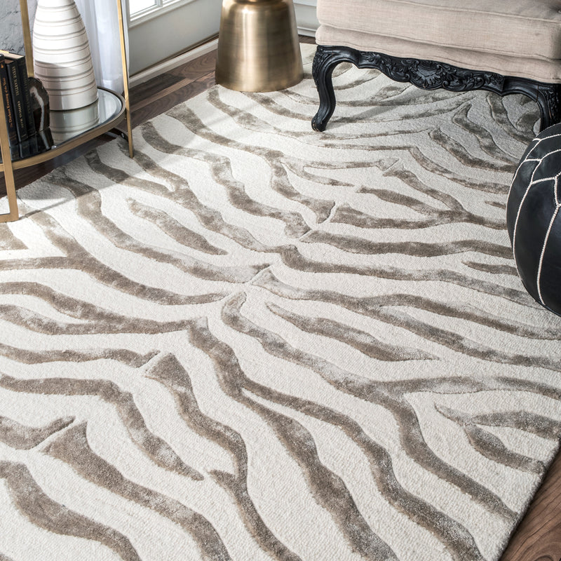 Zebra Stripe Hand Tufted Rug