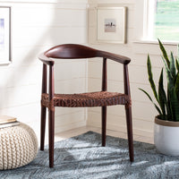Maia Leather Woven Accent Chair