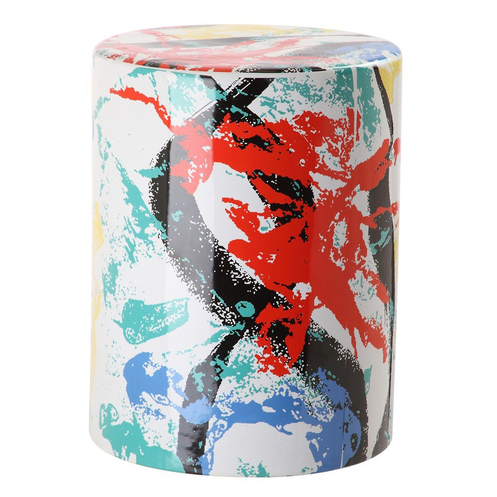 Rane Multicolor Ceramic Garden Stool