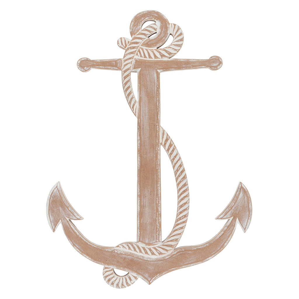 Distressed Anchor Wood Wall Art