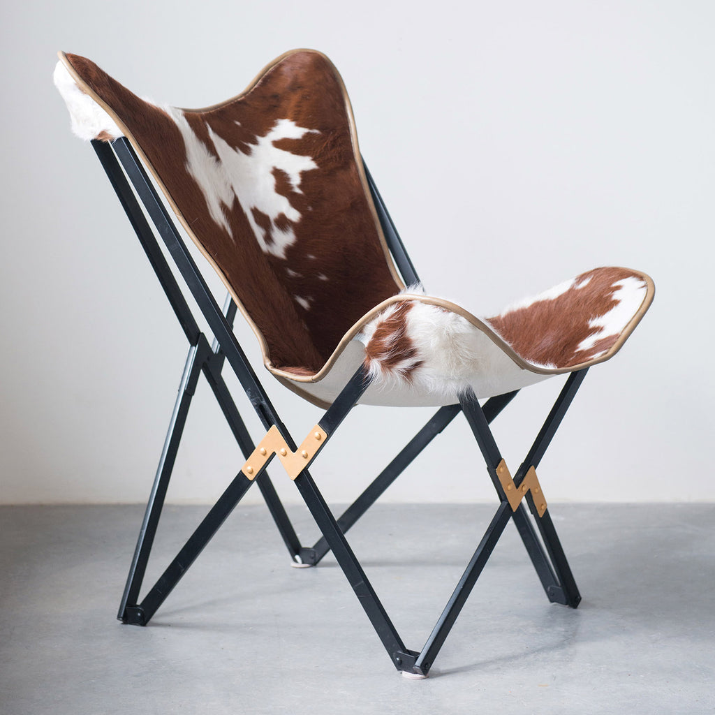 Cow Hide Foldable Butterfly Chair