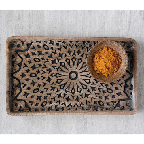 Siena Hand-Carved Wood Tray