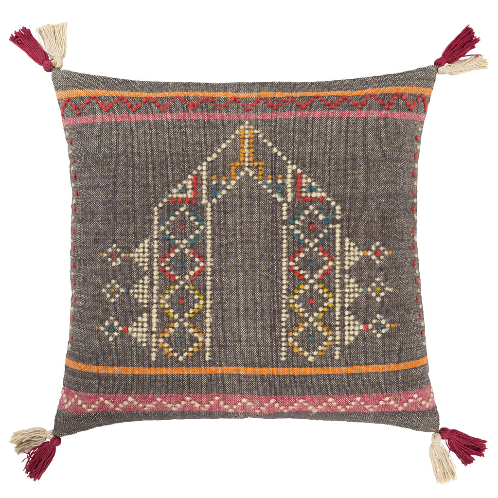 Indus Charcoal Throw Pillow