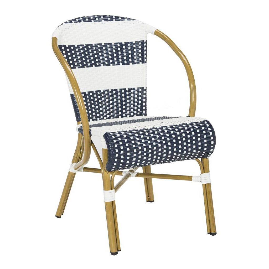 Lia Striped French Bistro Outdoor Side Chair Set of 2