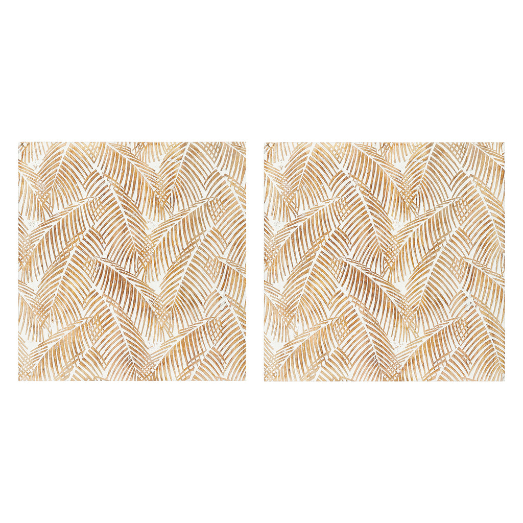 Palm Wood Wall Art Set of 2