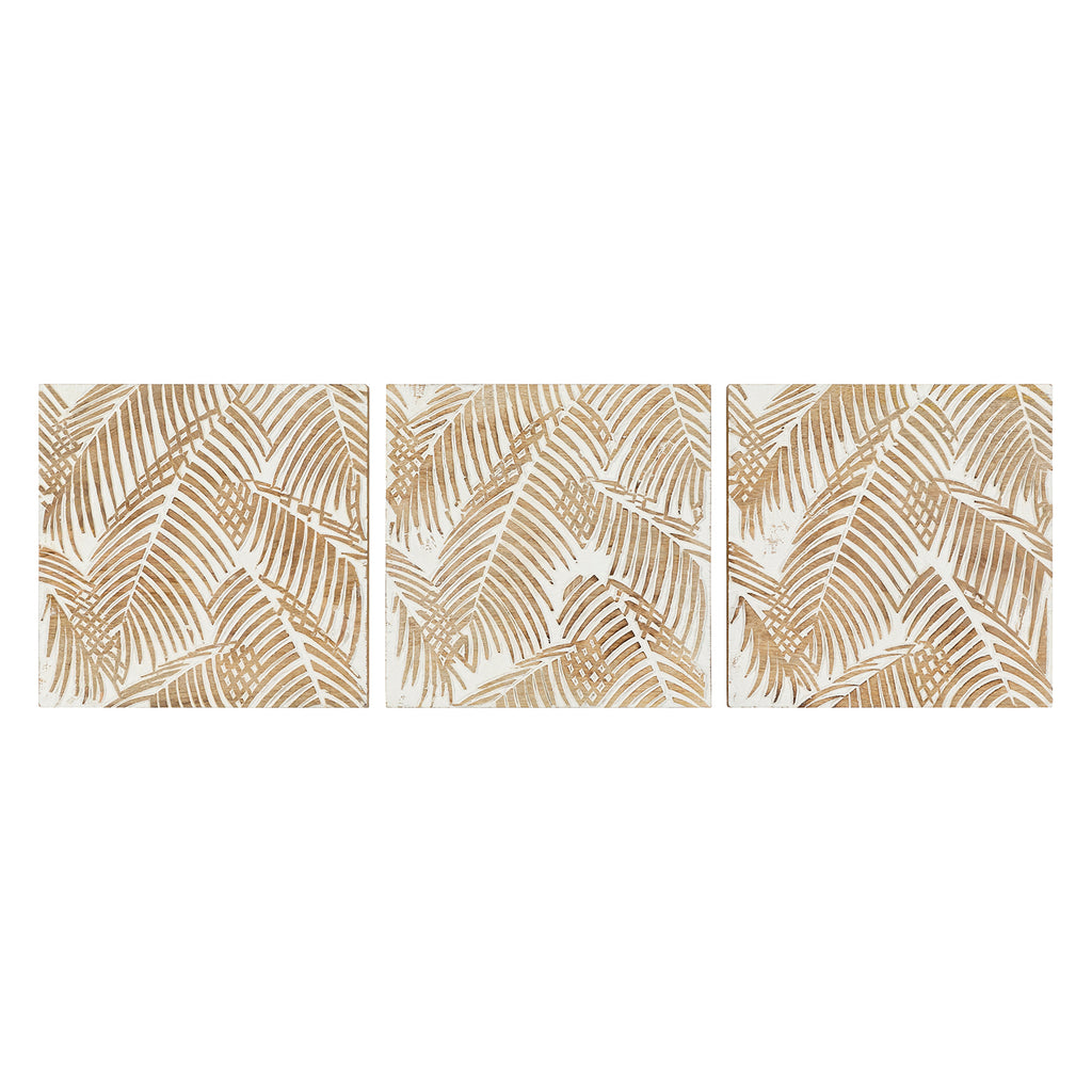 Palm Wood Wall Art Set of 3