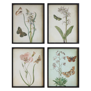 Flowers & Butterfly Framed Wall Art Set of 4